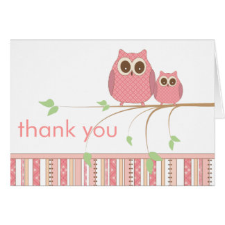 Mama Owl & Baby Owl in Pink Thank You Note Card