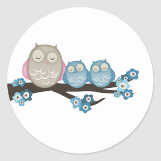 Mama Owl & Twins {Blue} | Stickers
