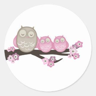 Mama Owl & Twins {Pink} | Stickers