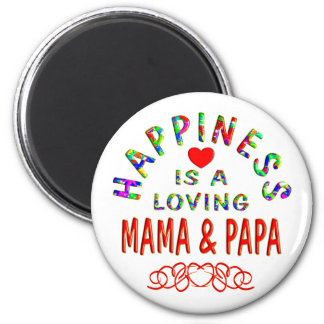 Mama & Papa Happiness 6 Cm Round Magnet