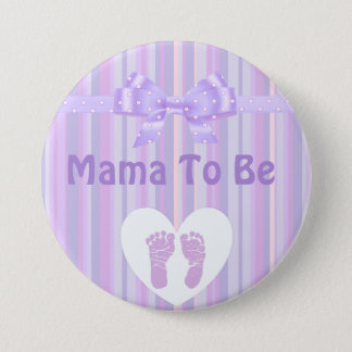 Mama to be Baby Shower Button: Purple Bow 7.5 Cm Round Badge