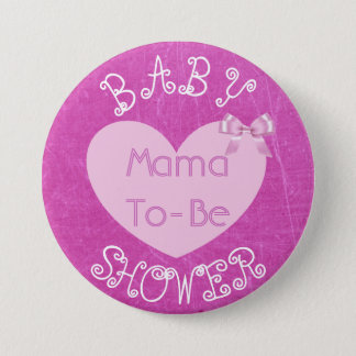 Mama to Be Pink Bow Baby Shower Button