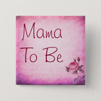 Mama to be Pink Flower Baby Shower Button