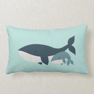 Mama Whale & Baby Lumbar Pillow | {Aqua & Blue}