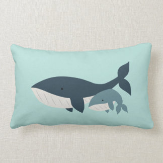 Mama Whale & Baby Lumbar Pillow | {Aqua & Blue} Cushion