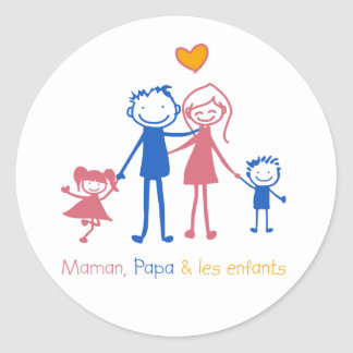 Maman, dad & les enfants round sticker