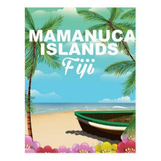Mamanuca Islands, Fiji vintage vacation poster Postcard