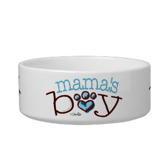 Mama's Boy Cat Blue Paw Print Pet Food Bowl