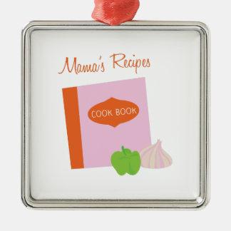 Mamas Recipes Silver-Colored Square Decoration