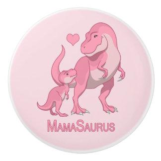MamaSaurus T-Rex and Baby Boy Dinosaurs Ceramic Knob