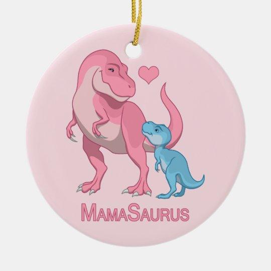 MamaSaurus T-Rex and Baby Boy Dinosaurs Christmas Ornament