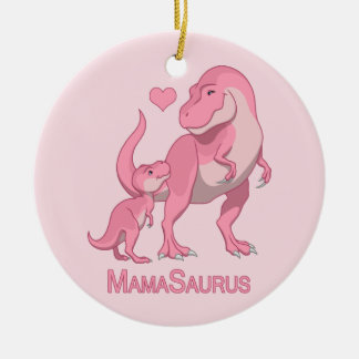 MamaSaurus T-Rex and Baby Girl Dinosaurs Christmas Ornament
