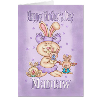 Mamaw Mother's Day Card - Cute Rabbit With Her Lit