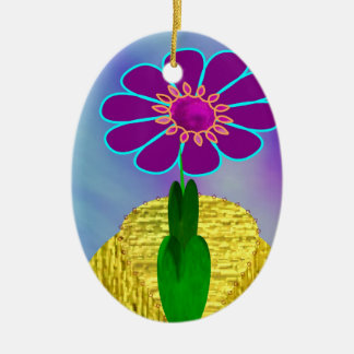 MaMaw's Flower Double-Sided Oval Ceramic Christmas Ornament