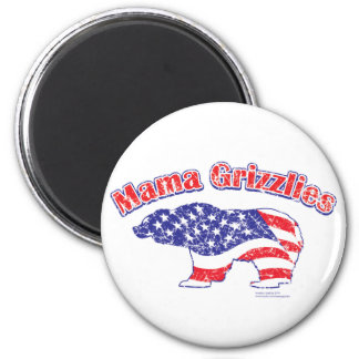 Mamma-Grizzly-Distressed 6 Cm Round Magnet