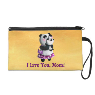 Mamma Panda with her Child Wristlet Purses