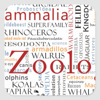 Mammals in Typography Square Sticker