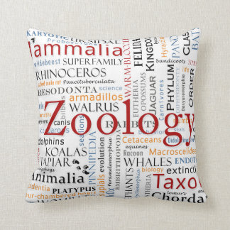 Mammals in Typography Throw Pillow