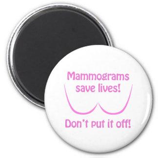 Mammograms Save Lives! 6 Cm Round Magnet