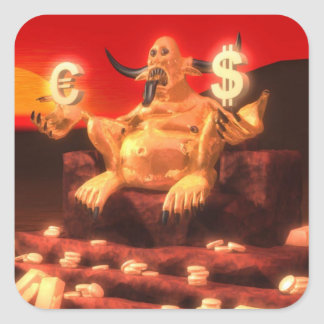 Mammon Demon God of Money Square Sticker