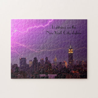 Mammoth Lightning Strike Over Midtown NYC Skyline Puzzles