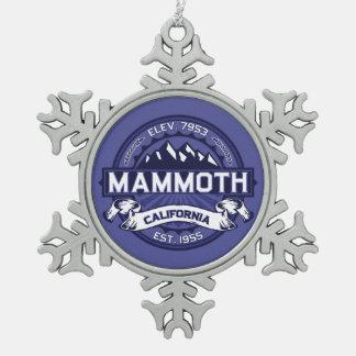 Mammoth Logo Snowflake Pewter Christmas Ornament