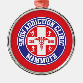Mammoth Mtn Snow Addiction Clinic Silver-Colored Round Decoration
