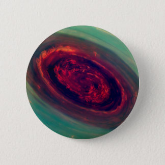Mammoth Red Storm on Planet Saturn 6 Cm Round Badge