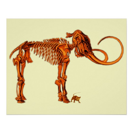 Mammoth Skeleton and Mouse Poster