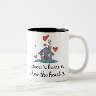 Mamo's Home is Where the Heart is Two-Tone Mug