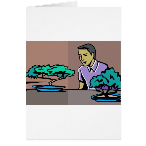 Man admiring two bonsai trees graphic greeting card