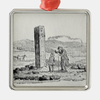 Man and a Boy by a Monument Christmas Ornament