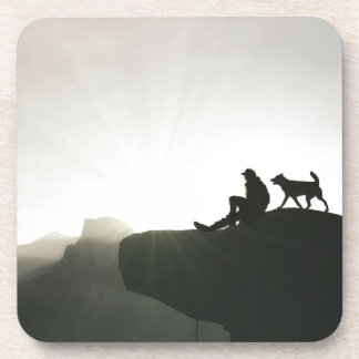 Man and Dog Bond on the Mountain Beverage Coasters