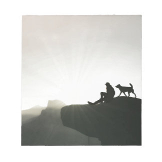 Man and Dog Bond on the Mountain Notepad
