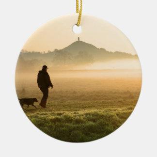 Man and Dog Mountain Mist Round Ceramic Decoration