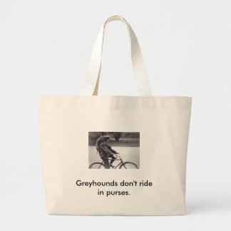 Man and grey on bicycle in England, Large Tote Bag