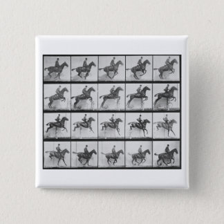 Man and horse jumping a fence, plate 640 from 'Ani 15 Cm Square Badge
