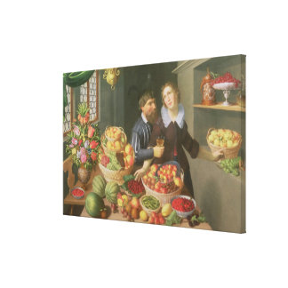 Man and Woman Before a Table Canvas Print