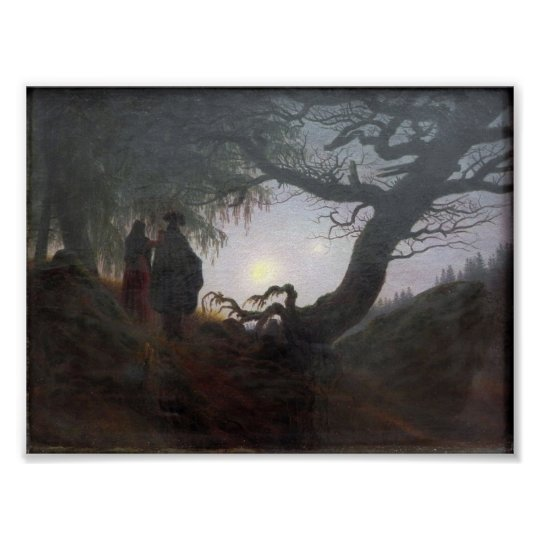 Man and Woman Contemplating the Moon Poster