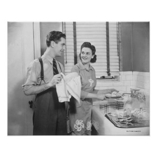 Man and Woman Doing Dishes Poster