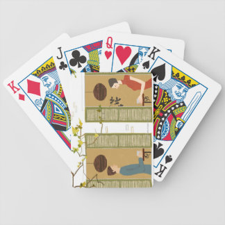 Man and Woman Drinking Coffee Bicycle Playing Cards