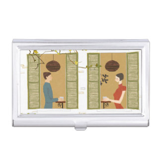 Man and Woman Drinking Coffee Business Card Holder
