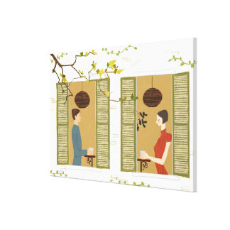 Man and Woman Drinking Coffee Stretched Canvas Prints