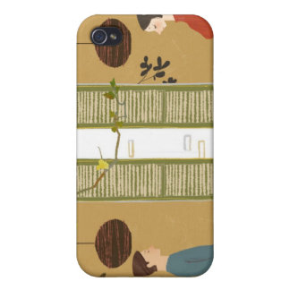 Man and Woman Drinking Coffee Cover For iPhone 4