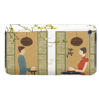 Man and Woman Drinking Coffee iPod Touch Cases