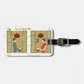 Man and Woman Drinking Coffee Luggage Tag