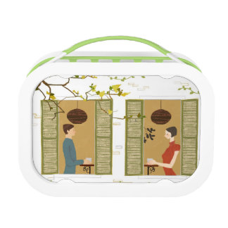 Man and Woman Drinking Coffee Lunch Box