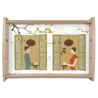 Man and Woman Drinking Coffee Serving Tray