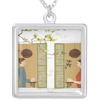Man and Woman Drinking Coffee Silver Plated Necklace