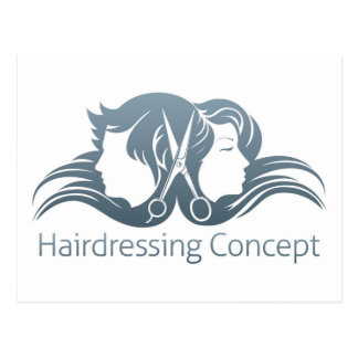 Man and woman hairdresser scissors concept postcard